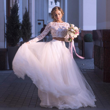 LORIE Beach Wedding Dress Long Sleeves Lace Bride 2 Pieces Princess Boho Gown Tulle  Bridal