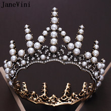 JaneVini Vintage Baroque Gold Beaded Pearls Wedding Crowns Queen Tiaras Princess Crown Headband Bridal Hair Jewelry Accessories(China)