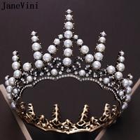 JaneVini Vintage Baroque Gold Beaded Pearls Wedding Crowns Queen Tiaras Princess Crown Headband Bridal Hair Jewelry Accessories