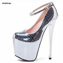 LLXF zapatos artı: 45 46 47 bahar 2019 seksi 20cm yüksek topuklu ayakkabılar kadın Stiletto rugan serpantin altın/gümüş pompaları