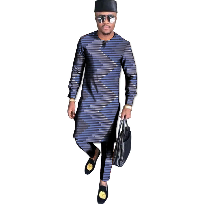 African traditional costume long shirt men dashiki clothes fashion male full sleeve tops with trousers set clothing