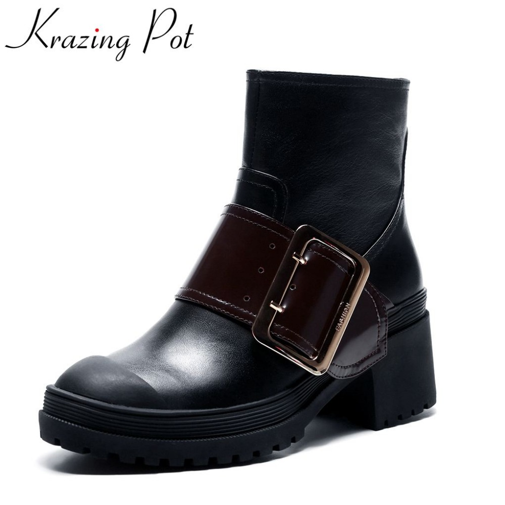 Krazing Pot new arrival leather thick heel round toe zipper motorcycle boots buckle high heels mixed color mid-calf boots L68 double buckle cross straps mid calf boots