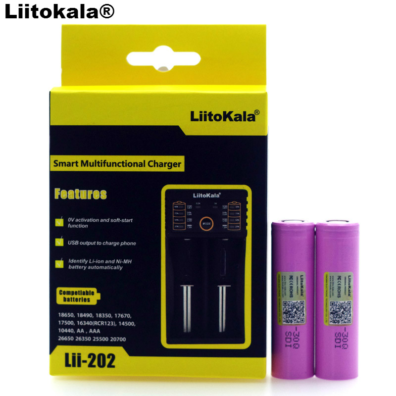 2 PCS Liitokala Originals <font><b>3.7</b></font> <font><b>V</b></font> BATTERY INR18650 30Q 3000 mAh 18650 Powered Rechargeable Li-Ion Battery for + Lii-202 image
