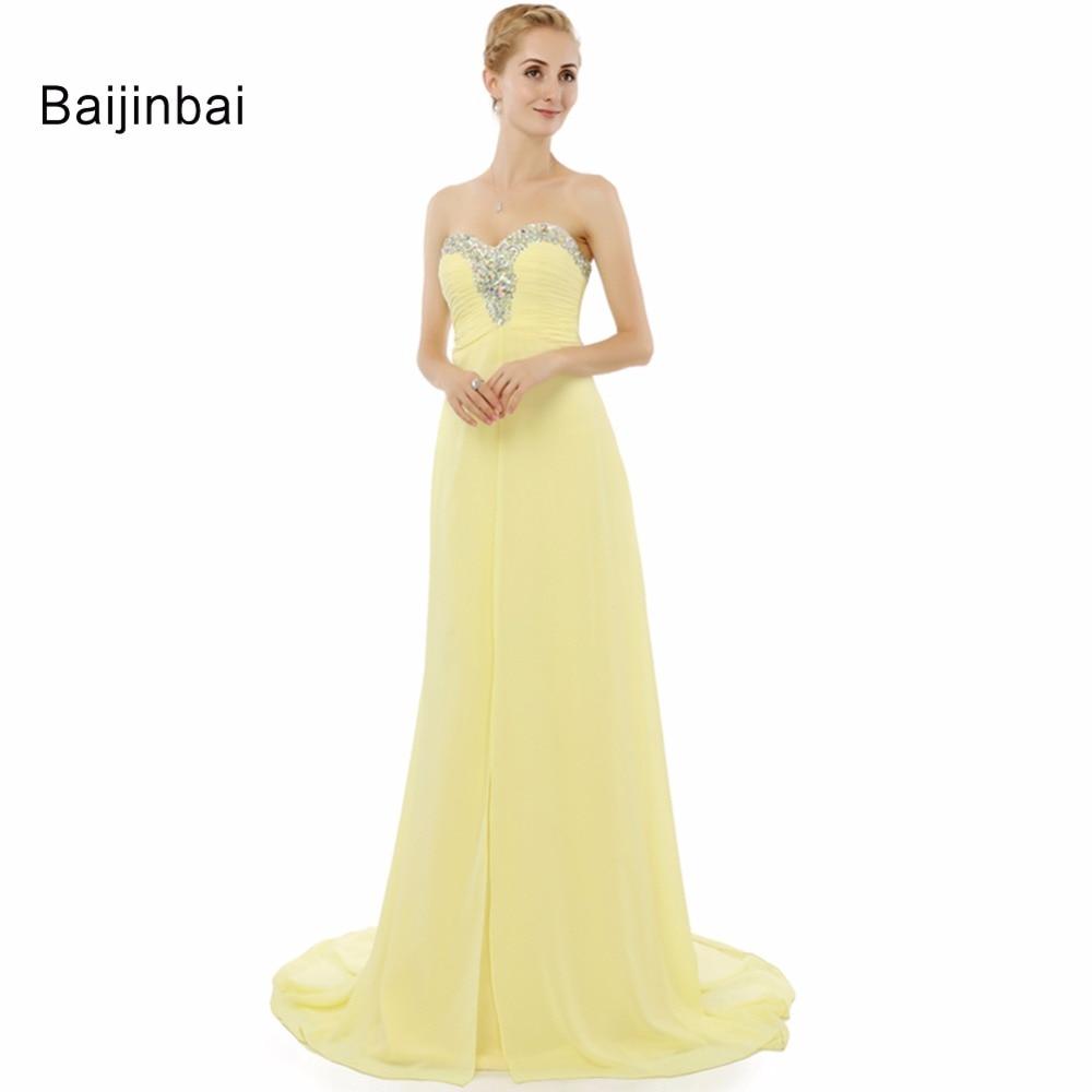 Baijinbai Chiffon Backless Sweetheart font b Yellow b font A Line Long font b Prom b