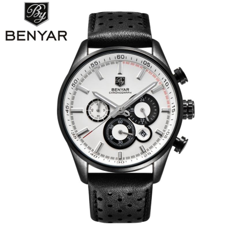 BENYAR genuine quartz watches male Genuine Leather watches racing men Students game Running Watch Chronograph male hands glow