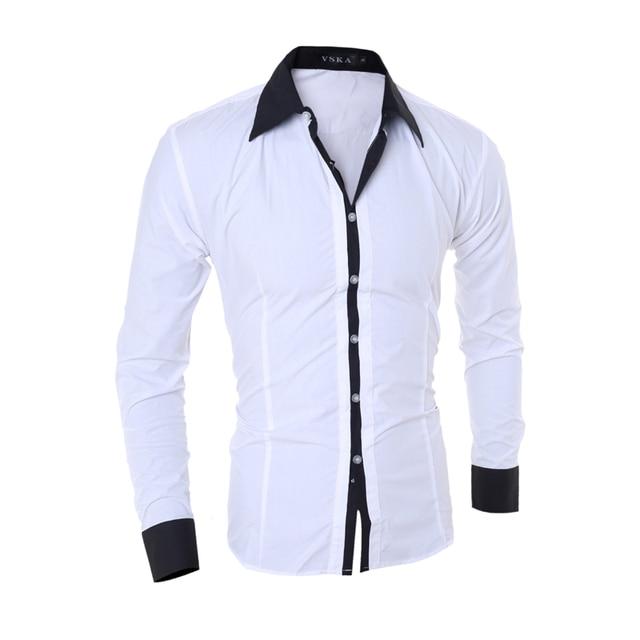 Для мужчин рубашки Весна 2018 новый модный бренд Fit сплошной цвет рубашки мужской одежда с длинным рукавом Повседневная рубашка Camisa Masculina Размеры S-XXL