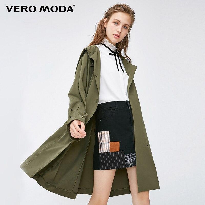 Vero Moda 2019 nowe ozdobne guziki z kapturem regulowane mankiety średniej długości czysty płaszcz chroniący od wiatru trencz  318321532 w Trencze od Odzież damska na  Grupa 1