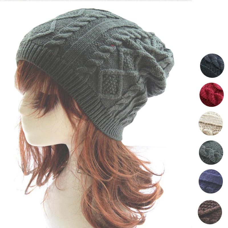 Winter twist cap hat for men women fashion warm beanie skullies wool knitted brand new thick female cap La gorra 8AA728 wool skullies cap hat 10pcs lot 2289