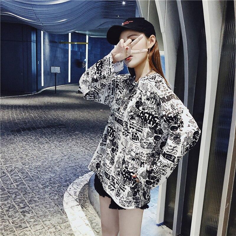 Women's Clothing Autumn Korean ulzzang Tops Casual loose hipster letter Print harajuku Tees BF O-neck long sleeve New T-Shirts 2