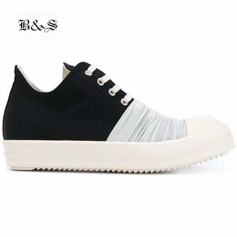 Black& Street Patchwork White Fold Cloth Unisex breathable causal Shoes Canvas Flat sneaker Shoes ...