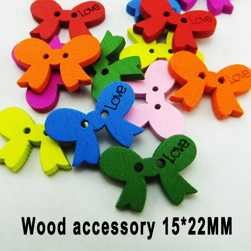 100PCS bow tie button r plaid handmade toy diy accessory small wooden buttons JEWELRY CHARMS MCB-194