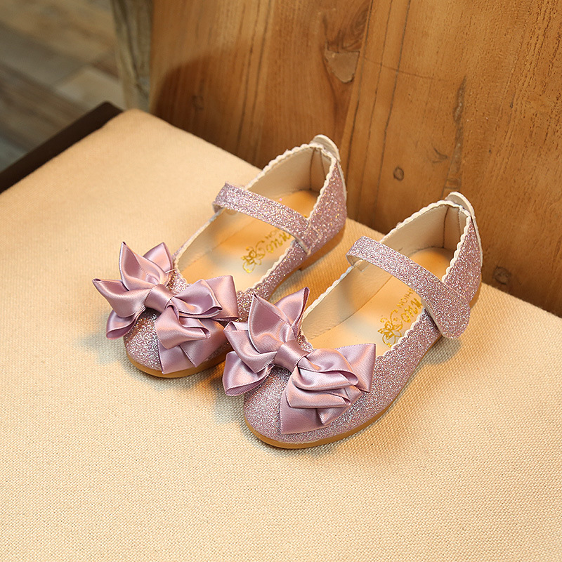 Gold pink elegant Childrens princess shoes Girl Bling bows student dancing Party Spring Dance Wedding Shoes