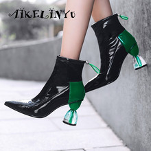 AIKELINYU Fashion Boots Female Spring Autumn Models Crystal High-heeled Women Short Sexy Pointed End Patent Leather Shoes