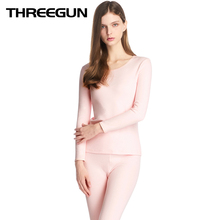 THREEGUN Seamless Breathable Warm Long Johns Ladies Slim Thermal Underwear Sets For Women Pajamas Winter Second Skin Termica
