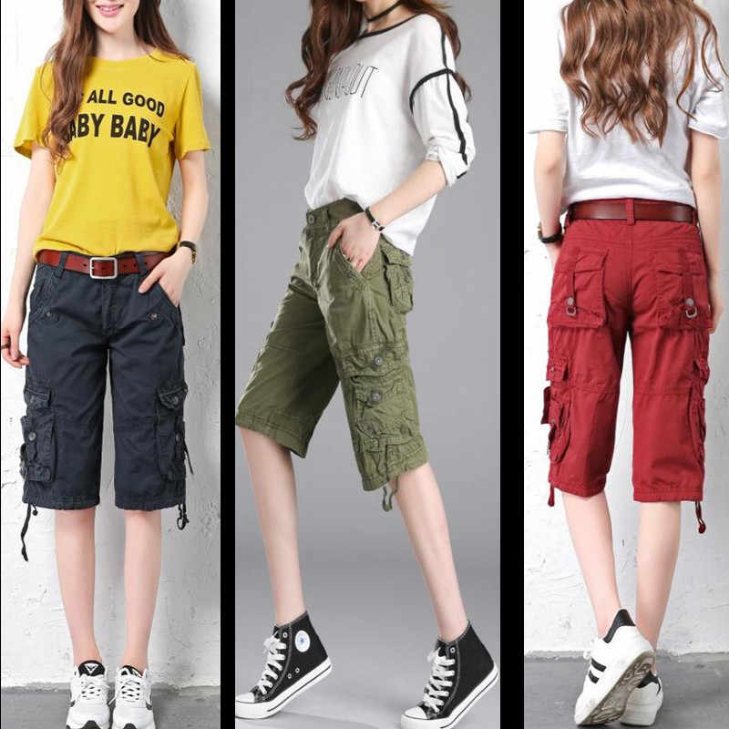 ladies knee length cargo shorts