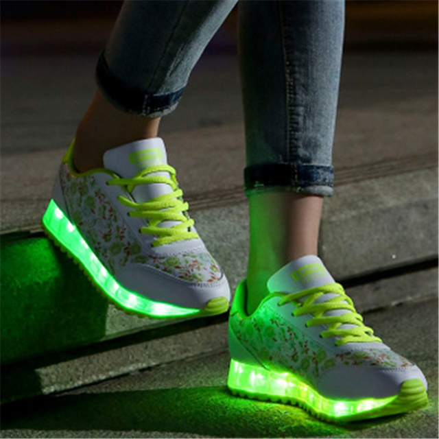 2016 women shoes with colorful glowing lights up bright shoes led a new simulation sole shoes led to neon basket adults took
