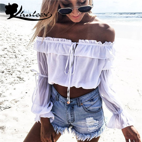 6aa841167d Khaleesi Long sleeve chiffon blouse shirt women tops Boho off shoulder crop  top white Summer beach blouse chemise tube blusa