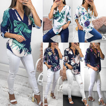 2019 Irregular Elegant Shirt Women Blouse Summer Leaf Print Causal Half Sleeves V-Neck Female