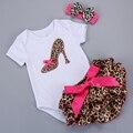 Рождения Девочки Одежда Верхняя Одежда ребенка Устанавливает Случайные Пуловеры Топ + Шорты + Повязка Костюм Roupa Infantil Ребенок костюм #7B3008
