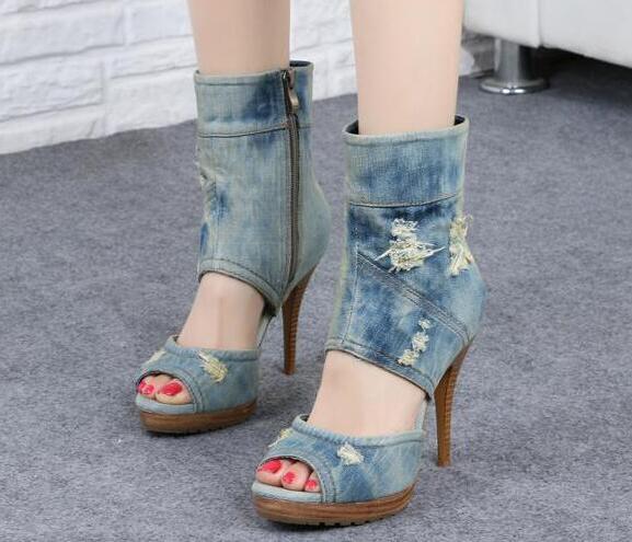 Sexy Peep Toe Women Fashion Denim Boots Cut Out Ladies High Heel Ankle Boots Zipper Side Female Platform Boots Dress Shoes