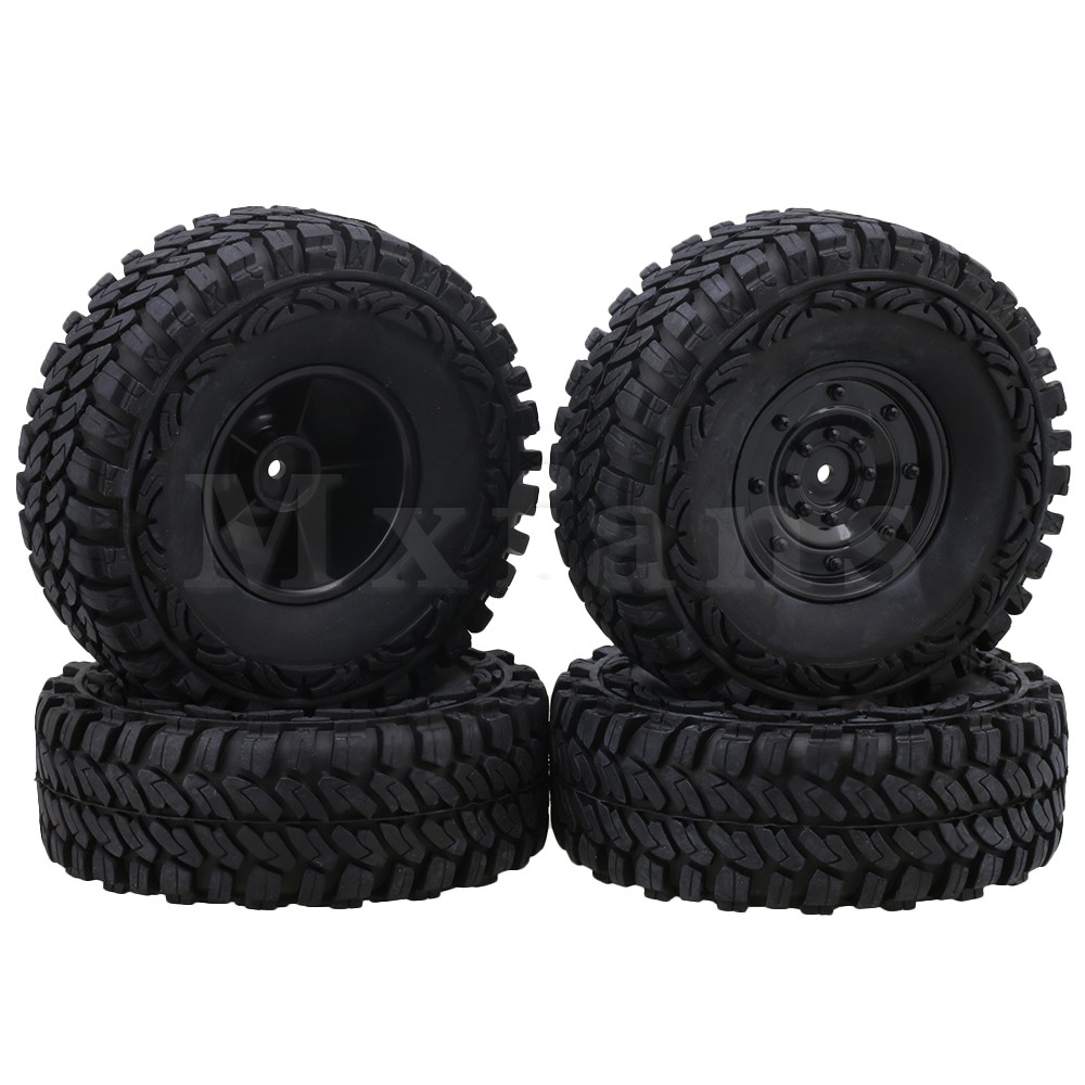 Mxfans 1.9 inch Black Plastic Disc Shape Wheel & 115mm Rubber Tires for RC 1:10 Rock Crawler Pack of 4 цена 2017