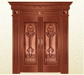 Bronze Door Security Copper Entry Doors Antique Copper Retro Door Double Gate Entry Doors H-c3