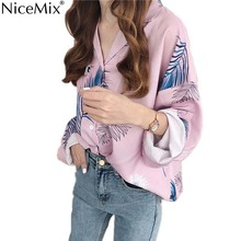 NiceMix Fashion Chiffon Blouse Women Shirt Print Leaves Long Sleeve Womens Tops And Blouses Blusas Femininas De Verao 2019