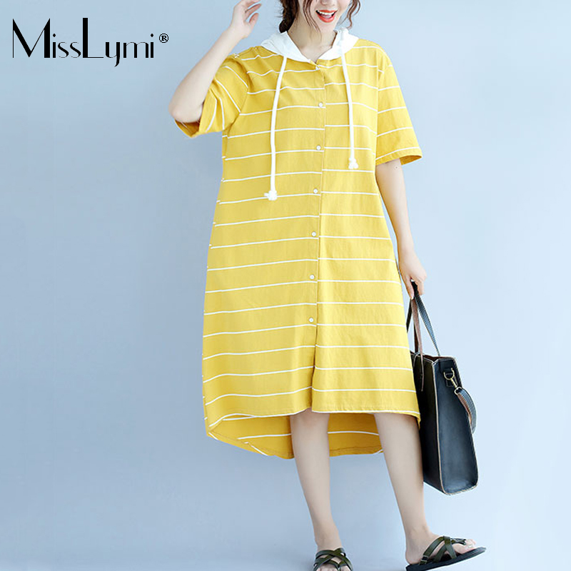 MisssLymi XXL XXXL Plus Size Women Vintage Dress 2017 Patchwork Hoodies Short Sleeve Stripe Asymmetry Loose Summer Long Dresses
