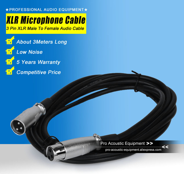 10ft 10 Feet 3m 3 Meter XLR Cable Male to Female M/F 3Pin Jack Audio ...
