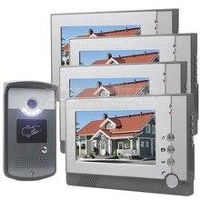 DIYSEUCR 7 inch Color LCD Display Video Door Phone Enter Intercom Doorbell Card Key RFID Reader LED Night Vision Camera 1V4