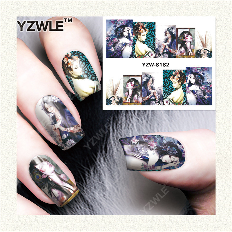 YWK 1 Sheet DIY Designer Water Transfer Nails Art Sticker / Nail Water Decals / Nail Stickers Accessories (YZW-8182) yzwle 1 sheet diy decals nails art water transfer printing stickers accessories for manicure salon yzw 156