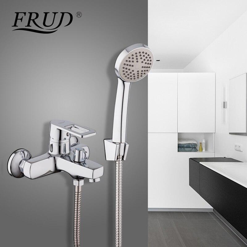 Frud Silver Shower Faucet Bathroom Shower Handheld Shower Single Handle Chrome Modern Style Shower Set Washroom
