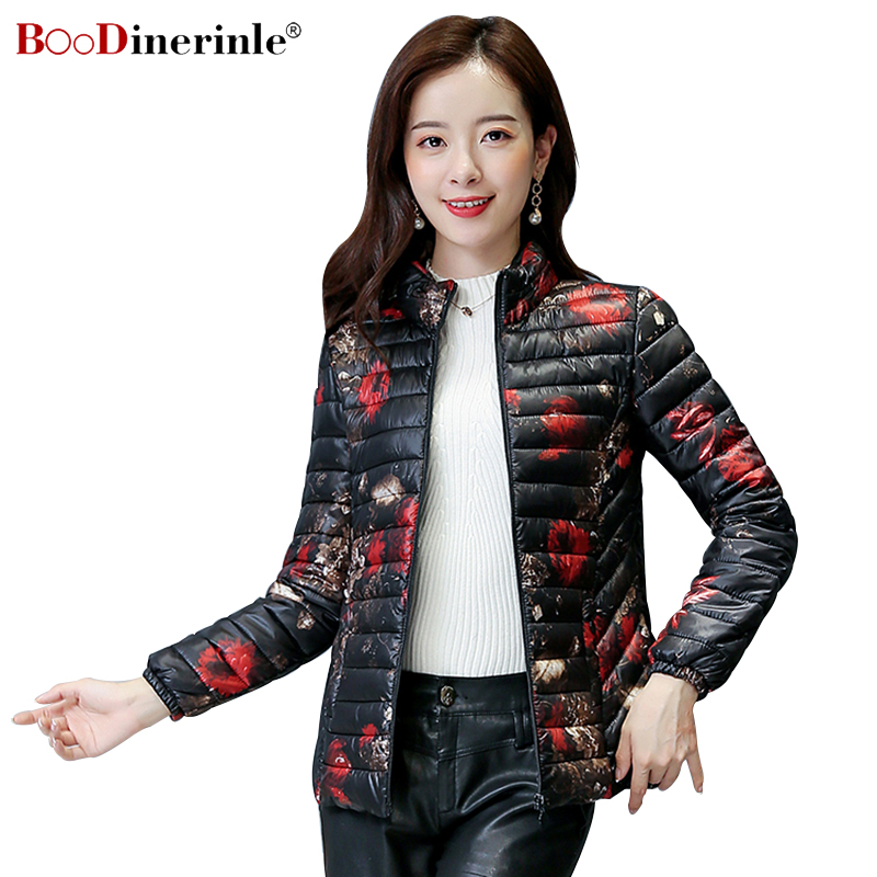 2018 New Women's Winter Padded   Parka   Fashion Slim Down Cotton Coat Female Winter Regatta Printing Light Short Basic Jacket MY298