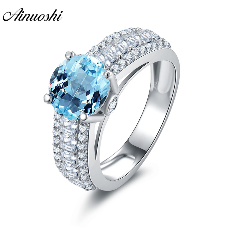 AINUOSHI Natural Blue Topaz Ring SONA Diamond 2ct Round Cut Gems Lady Engagement Wedding Ring 925 Sterling Silver Ring Jewelry luxury jewelry round cut sona diamond engagement ring in sterling silver