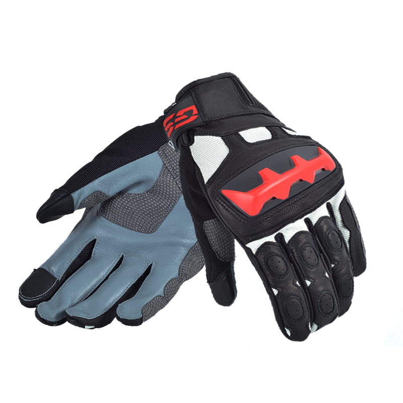 WILLBROS New Arrival 2018 Motorcycle GS Gloves for BMW GS650 GS1200 F650GS F Motorrad Black/Red Leather Gloves