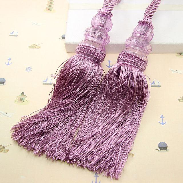 7 Color 1 Pair Rope Curtain Tiebacks Tie Backs Crystal Ball Beaded Tassel Holdback Home
