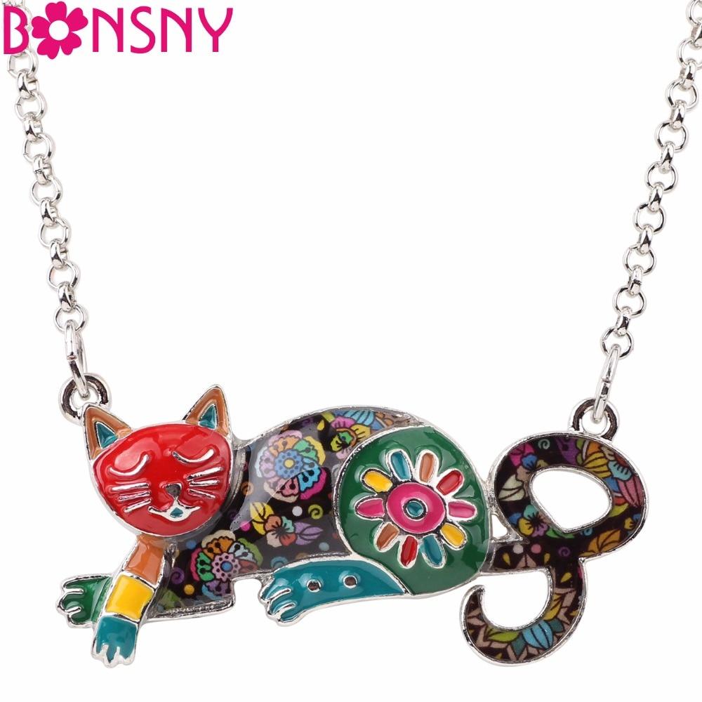 Bonsny Σμάλτο Κράμα Ξαπλωμένη Γάτα Γατάκι Κολιέ Κρεμαστό Κολιέ Κολιέ Μόδα Ζώα Κοσμήματα Για Γυναίκες Κορίτσια Εραστές Ζώων Δώρο Bijoux