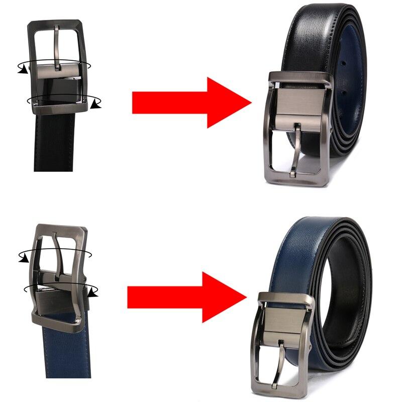 Image 3 - Men Genuine Leather Belt Reversible Waist Strap Pin Buckle Casual Belts For Men Male High end Cowskin Leather Girdle Belt BoyMens Belts   -