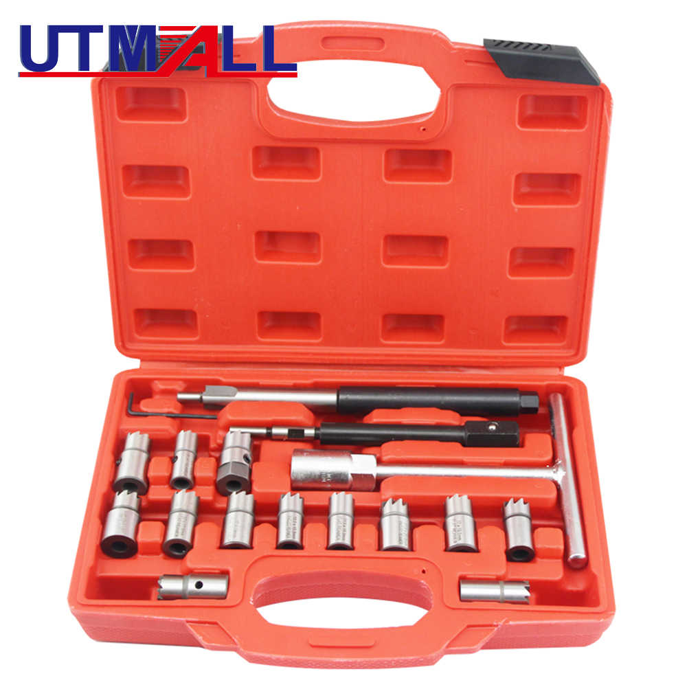 5 Pc 7 Pc 10 Pc 17 Pc Diesel Injector Seat Cutter Cleaner Tool Set Carbon Remover