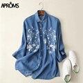 Resorte de la manera de Mezclilla Azul Bordado Flroal Blusa de Las Mujeres Elegantes de La Manga Completa Side Dividir Camisa Floja Ocasional de Las Mujeres Top Largo
