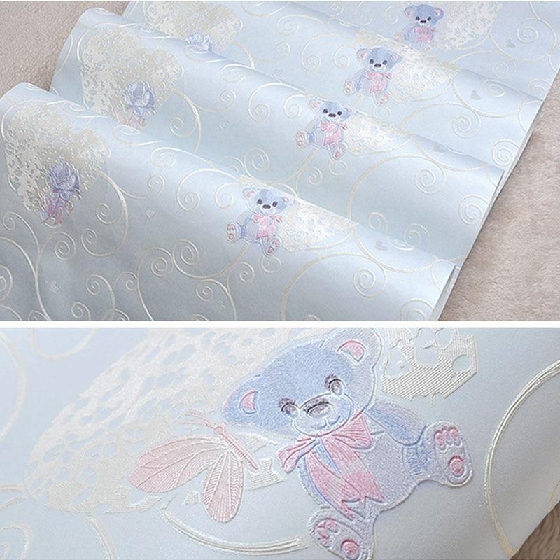 Cute Teddy Bear Wallpaper For Kids Room Child Boy Blue Beige Pink Wall Paper Cartoon Girls Children Bedroom