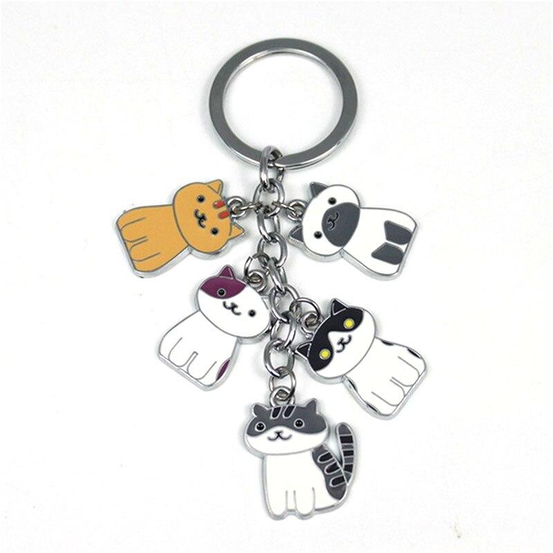 W5376 Fashion New Game Neko Atsume Metal Pendant Keychain Charm Cute cat keychain car