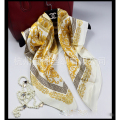 90*90cm 100% Real Silk Square Horse Chain Scarf Women Echarpe Foulard Luxury Brand Pareo Women's Scarves 2016 Shawls Wraps L