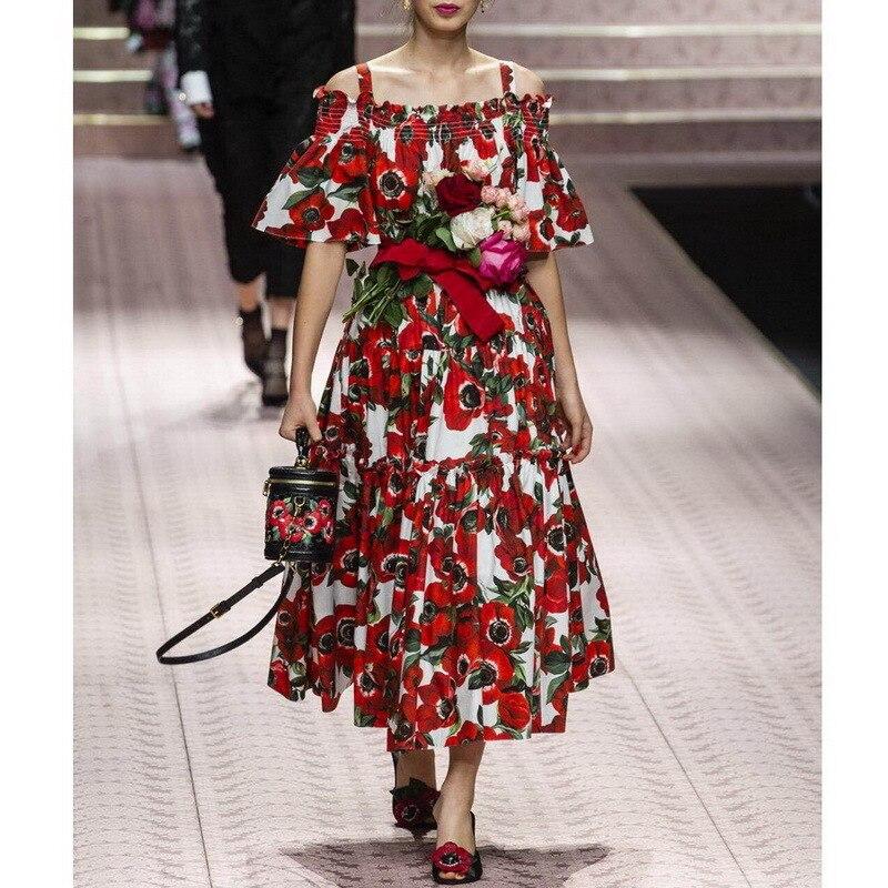 Kadın Giyim'ten Elbiseler'de Yeni Varış Pist 2019 kadın Çiçek Baskılı kapalı tek omuzlu elbise 181102Z01'da  Grup 1