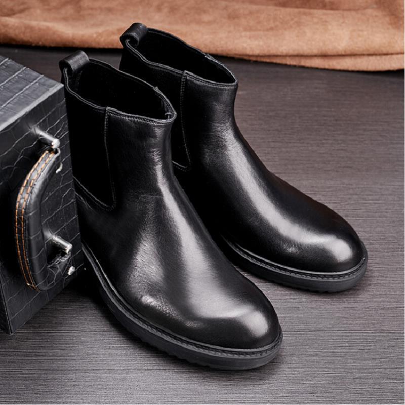 Sapatos De Qualidade Casuais Bonito Botas Marca Retro Couro Superior Estilo Britânico Dos Confortável Preto E Chelsea Homens Northmarch 8q7I1On7t