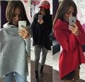 2016 Women Hoodies Scarf Collar Long Sleeve Fashion Casual Autumn Sweatshirts High Neck Solid Irregular Pullover S-XL