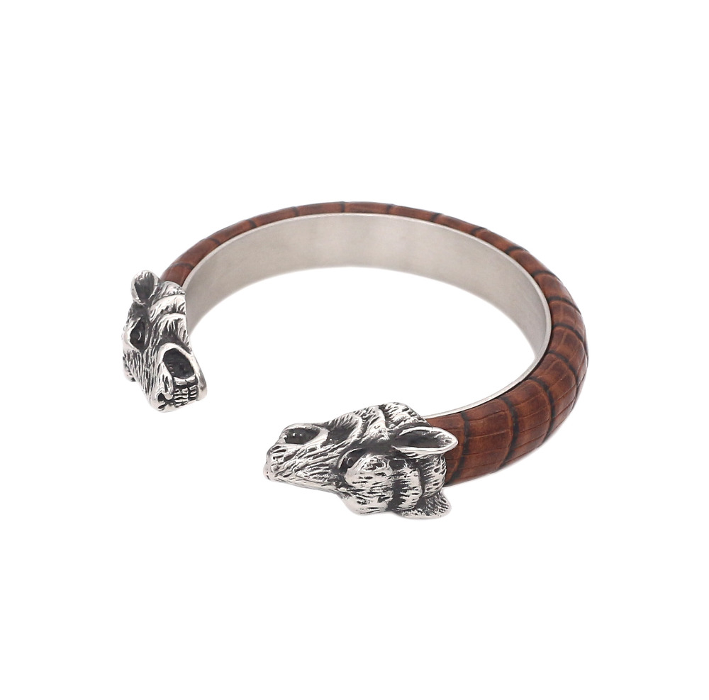 JSBAO New Design Fashion Leather Bangle Stainless Steel Leather Bangle Wolf Bracelet For Men Charm Jewellery  Wholesale