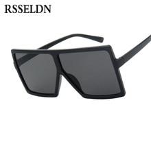 80703d99a RSSELDN المتضخم النظارات الشمسية النساء كبير الإطار ساحة نظارات شمسية الرجال  العلامة التجارية مصمم 2019 جديد خمر التدرج ظلال نظا.