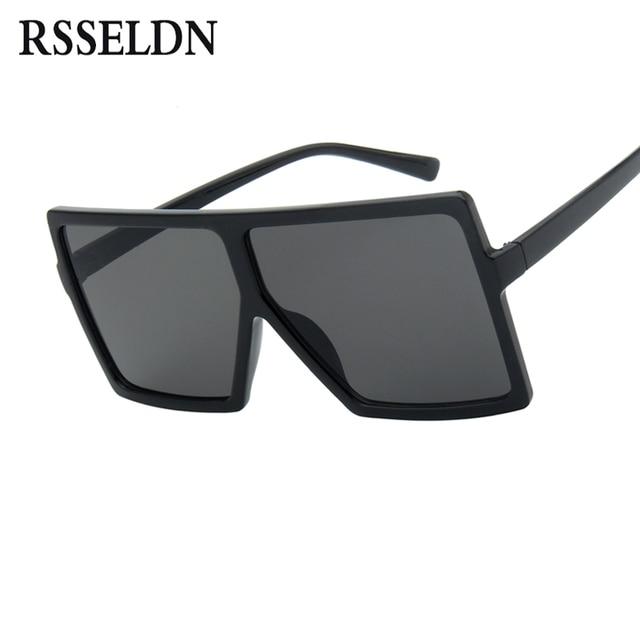 RSSELDN Surdimensionné lunettes de Soleil Femmes Grand Cadre Carré Lunettes  de Soleil Hommes Marque Designer 2018 b787d84a2af2