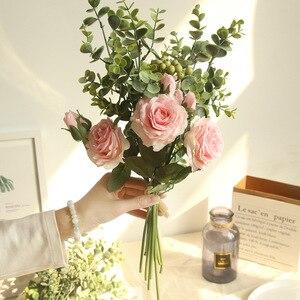Image 2 - Kyunovia 실크 장미 신부 꽃다발 인공 꽃 핑크 화이트 신부 들러리 꽃다발 아름다운 결혼식 꽃다발 d110